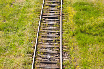 railroad through the grassland