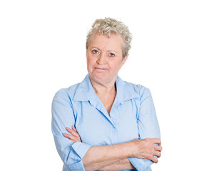 Portrait pissed off senior, elderly woman looking at you