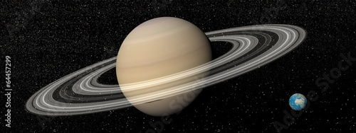 Saturn and earth - 3D render - 64457299