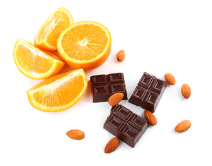 Chocolate and orange isolated on white