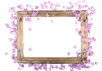 Beautiful lilac flowers and wooden photoframe isolated on white