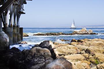 Ocean seaside view of sailboat