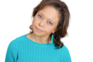 The skeptic. Doubtful senior woman, grandmother