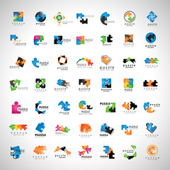 Puzzle Icons Set - Isolated On Gray Background