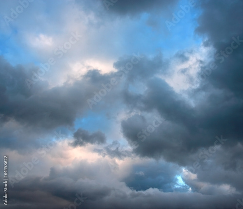 Rainy clouds on summer evening