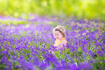 Toddler girl in bluebell flowers in spring meadow