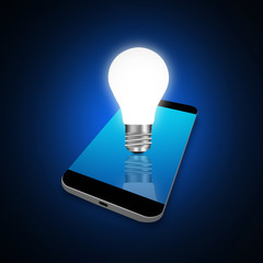 idea concept with light bulbs  on smartphone,cell phone illustra