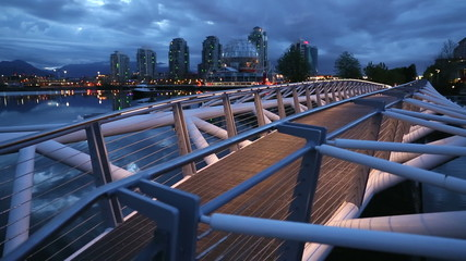 Vancouver Canoe Bridge Twilight dolly shot