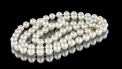Pearls on display with the clasp