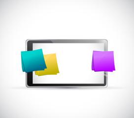 tablet and multiple posts illustration design