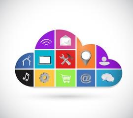color icons cloud computing illustration design