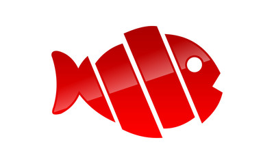 cut fish sign abstract logo