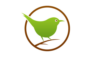 Bird  logo design template Sitting Sparrow logo