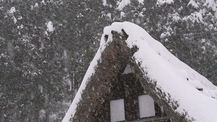 Snow falling on the roof,in Toyama,Japan