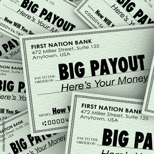 Big Payout Many Checks Rich Wealthy Money Pile