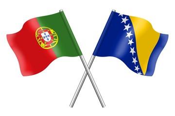 Flags: Portugal and Bosnia-Herzegovina
