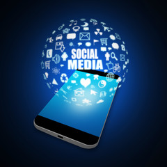 Social media on Mobile Phone,cell phone illustration