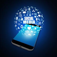 Social media on Mobile Phone,cell phone illustration