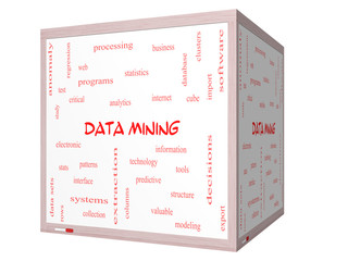 Data Mining Word Cloud Concept on a 3D cube Whiteboard