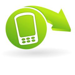 téléphone portable sur web symbole vert