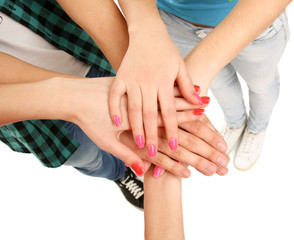 United hands of young people.