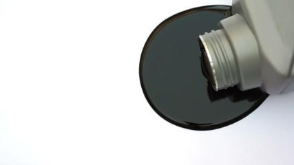Black Oil Spilled On White