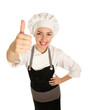 Attractive cook woman showing ok over white background.