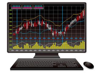 株式チャートとパソコン