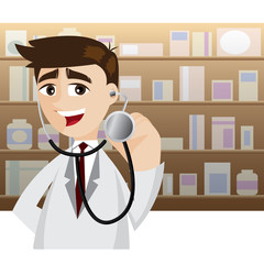 cartoon doctor in action using stethoscope