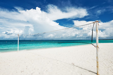 Beautiful beach with Volleyball Net