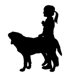 Vector silhouette of girl with dog.