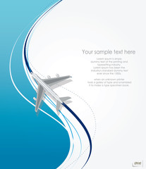 Vector airplane flying on line background