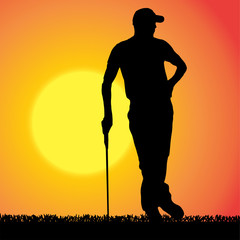 Vector silhouette of a man who plays golf.