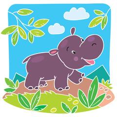 Children vector illustration of little hippo