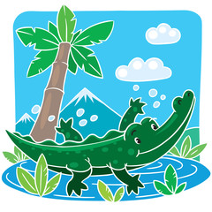 Children vector illustration of little crocodile