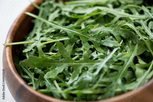 Fresh arugula, close-up, horizontal shot