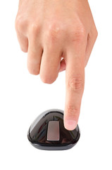 Finger points to left button of touch computer mouse isolated