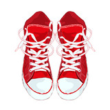 Red sneakers on white background. Vector illustration.