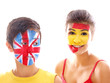 uk and spain flags on faces