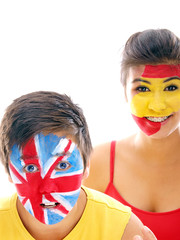 spain and uk flags on faces