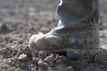 Boots on dry earth.