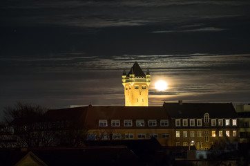 The old water tower at night, Esbjerg, Denmark
