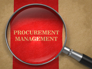 Procurement Management. Magnifying Glass on Old Paper.