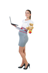 Portrait of busy pregnant businesswoman with notebook