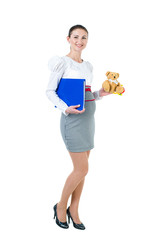 Pregnant businesswoman with document case and bear toy
