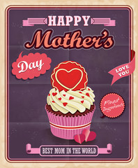 Vintage Mothers day with cupcake poster design