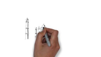Tadsch Mahal Indien Gebäude Zeichnung Handzeichnung