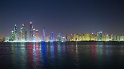 panoramic night 4k time lapse from dubai palm