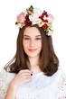 Portrait of beautiful girkl with flower wreath