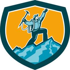 Mountain Climber Reaching Summit Retro Shield